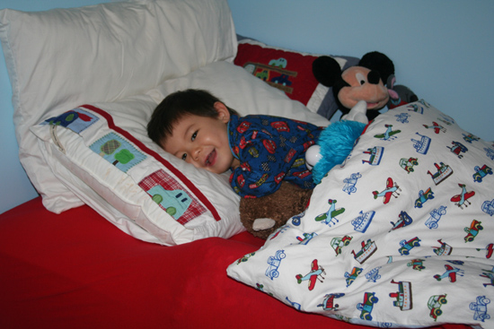 Caleb in his new big boy bed