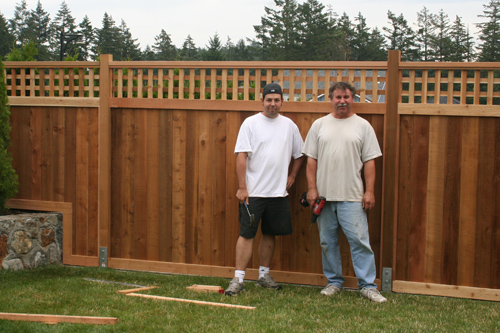 Our new fence - and the handymen that built it
